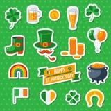 Комплект значков счастливого дня St Patricks плоских Стоковые Изображения RF