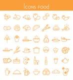 Комплект значков с едой Стоковые Изображения RF