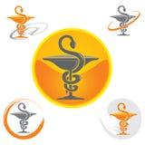 Комплект значков с желтым цветом символа кадуцея - здоровьем/фармацией иллюстрация штока