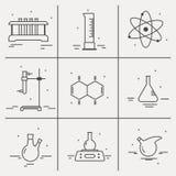 Комплект значков с оборудованием химической лаборатории Стоковая Фотография