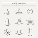 Комплект значков с оборудованием химической лаборатории Стоковое Изображение