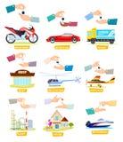 Комплект значков с продавать, покупая автомобилей, домов иллюстрация вектора