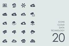 Комплект значков технологии данным по облака иллюстрация штока