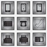Комплект 9 значков телефона Бесплатная Иллюстрация