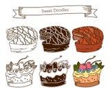 Комплект значков торта На белой предпосылке Стоковое Изображение