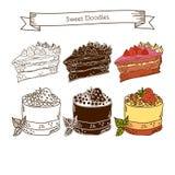 Комплект значков торта На белой предпосылке Стоковые Фото