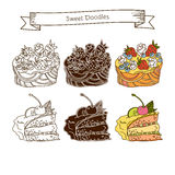 Комплект значков торта На белой предпосылке Стоковые Фотографии RF