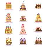 Комплект значков торта Стоковые Изображения RF