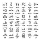 Комплект значков транспорта в современной тонкой линии стиле бесплатная иллюстрация