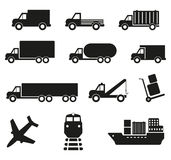 Комплект 12 значков транспорта груза Стоковые Фото