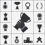 Комплект значков трофея и награды иллюстрация штока