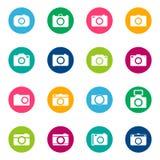Комплект значков фото на предпосылке цвета, иллюстрации Стоковое фото RF