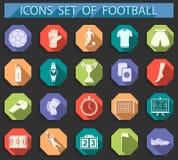 Комплект значков футбола в плоском стиле Стоковое фото RF