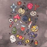 Комплект значков хеллоуина шаржа счастливых Установленные стикеры хеллоуина Значки шаржа и другие элементы иллюстрация вектора