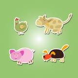 Комплект значков цвета с домашним животным ягнится чертеж Стоковые Изображения