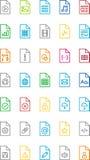 Комплект значков цвета для файлов и документов Стоковое Фото