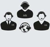 Комплект 4 значков центра телефонного обслуживания Стоковые Изображения RF
