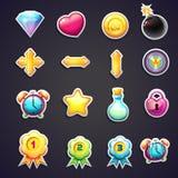 Комплект значков шаржа для пользовательского интерфейса компютерных игр Стоковое Изображение