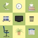 Комплект 9 значков элементов офиса Стоковое Изображение RF
