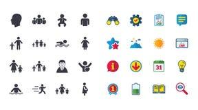 Комплект значков людей и семьи вода зонтиков заплывания бассеина иллюстрация штока