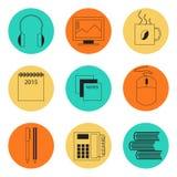 Комплект значков для офиса Стоковое Изображение RF