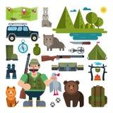 Комплект значков для охотиться Стоковые Изображения
