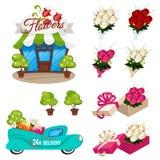 Комплект значков для цветков магазина иллюстрация штока
