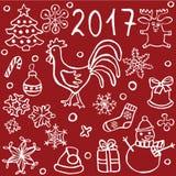 комплект значков doodle рождества и Нового Года Стоковое Фото
