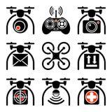 Комплект значков quadrocopters иллюстрация вектора