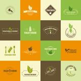 Комплект значков vegan и вегетарианца иллюстрация вектора