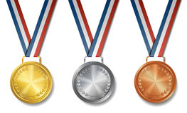 Комплект золота, серебра, бронзовых медалей награды Стоковая Фотография