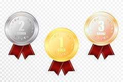 Комплект золота, серебр и бронза награждают медали иллюстрация штока