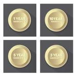 Комплект золотых кнопок гарантии Стоковое Изображение RF