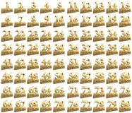 Комплект золотых чисел на золотом инготе для годовщины Перевод от испанского языка - лет Стоковые Изображения RF
