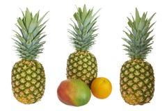 Комплект зрелых ананаса, манго и апельсина Стоковое Фото