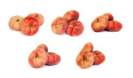 Комплект зрелых персиков смоквы на белизне Стоковые Фото