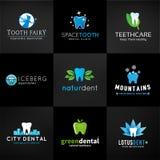 Комплект зубоврачебных логотипов Дизайны зуба вектора зубы Стоковая Фотография RF