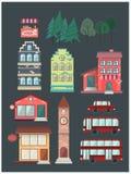 Комплект зданий, автомобиль, шина, кофе, магазин Стоковые Изображения