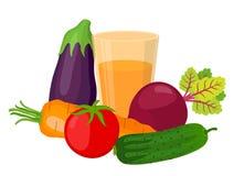 Комплект здоровых овощей, сок Сделанный в стиле шаржа плоском бесплатная иллюстрация