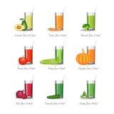 Комплект здоровых vegetable juicies иллюстрация штока
