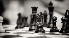 Комплект диаграмм шахмат на играя доске Стоковое Изображение RF