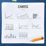 Комплект диаграмм doodles с желтым карандашем Стоковая Фотография RF