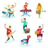 Комплект диапазона утеса шаржа подростковый Изолировано на белизне Молодые характеры музыкантов Стоковые Изображения