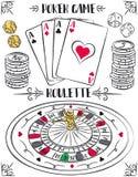 Комплект играя в азартные игры символов, рулетка, туз, кость, обломоки, вектор Стоковые Фото
