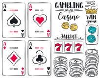 Комплект играя в азартные игры символов, туз, кость, обломоки, иллюстрация вектора Стоковые Фотографии RF