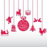 Комплект игрушек рождества различных форм Красивейшая конструкция Его можно использовать как элементы украшения Стоковое Изображение