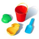 Комплект игрушек для ящика с песком детей Стоковое фото RF