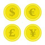Комплект иен евро доллара монеток иллюстрация вектора