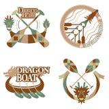 Комплект дизайна значка фестиваля шлюпки дракона бесплатная иллюстрация