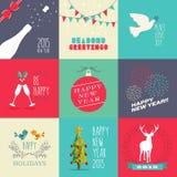 Комплект дизайна Нового Года 2015 плоский Стоковая Фотография